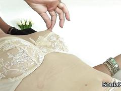 Cheating british milf lady sonia pops out her large boobs