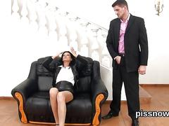 Blown away honey in lingerie is geeting peed on and poked