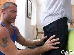 Straight guy with tattoos lets a mature masseur fuck his ass into shreds