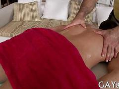 Old masseur with big muscles bends over straight stud for anal fucking