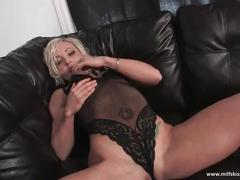 Big red dildo satisfies horny blonde milf
