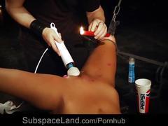 Tall hardcore slave girl restrained for bondage masturbation