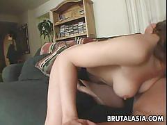Dick slurping babe gobbles cock