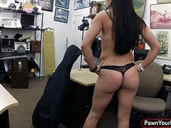 Sexy woman walks in the pawnshop and gets fucked for cash