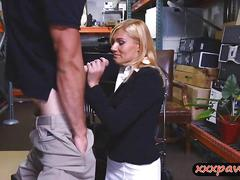 Hot blonde milf pounded by pawn dude in storage room