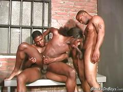 Long haired black guy gets assfucked by fellow black men