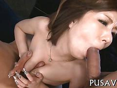 Shaved babe gets fucked apart in a japanese gang bang