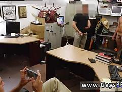 Flabby dude jerks off for two pawn shop owners while getting filmed