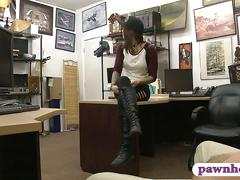 Hot amateur brunette babe gets nailed by pawn keeper