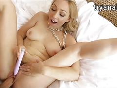 Sexy blonde girlfriend gets her anal pounded on camera