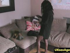 Ebony casting beauty deepthroating cock