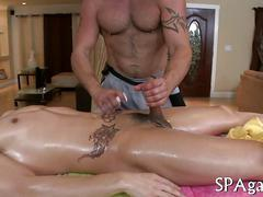 Two tattooed dudes use massage as excuse to suck dick