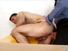 Barreling through the fellas ass and entering his anal canal