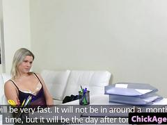 Female casting agent eating babes pussy