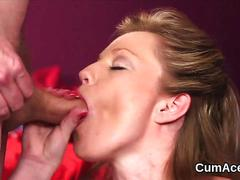 Kinky babe gets cum shot on her face swallowing all the cum