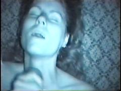 Heather comes down from canada to catch cum on her chin
