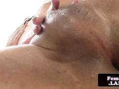 Solo femboy masturbating in lingerie