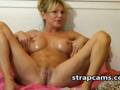 Super horny milf fucks pussy with sextoy