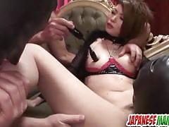 Asian brunette gets her moist pussy vibed