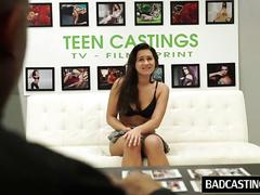 Shy teen shows sweet body in interview