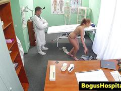 Amateur euro patient doggystyled during exam