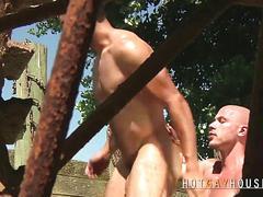 Marc sucks masculine dick outdoors