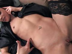 Petite cutie mandy masturbating on the phone in black thigh high stockings