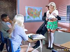 A star blonde student laela pryce riding cock in the classroom