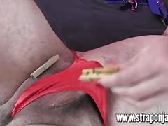Mistress strapon jane fucks sissy dog in red thong virgin ass with big strapon