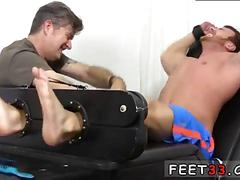 Tickling the fellas feet in a bdsm fag ass project