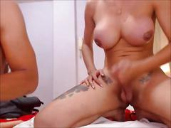 Busty shemale having sex with her young lover