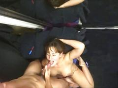 Slutty milf blowing his cock until he cums on
