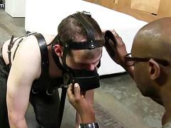 Tied up gay gets fucked by hard black hammer