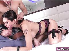 Busty shemale danny bendochy gets anal pounded deep and hard