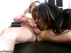 Ebony ts sucks her lips on tranny meat before hardcore fuck