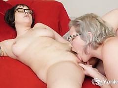 glasses, cum, lesbian, masturbation, orgasm, climax, amateur, cumming