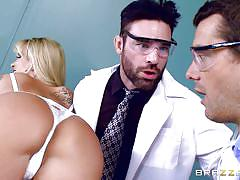 Busty lady getting treated by two doc-cocks