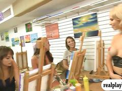 Hot babes flash their big tits in art session for cash