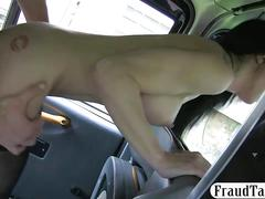 Super horny babe sucks off and fucked by fake driver