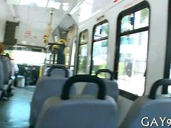 Ghetto black dude gets his dick sucked on a bus