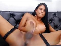 Latina shemale drinks her own sperm