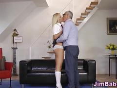 Teen schoolgirl rides rod masturbation