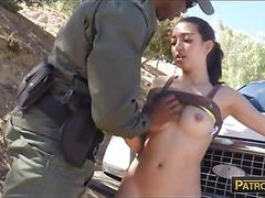 Pretty amateur latin babe gets pounded by law enforcer