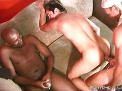 Horny white dude gets black cock insertion