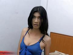 Hairy ladyboy strips down blue dress and strokes small dick
