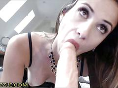 Hot brunette mom fucks pussy with dildo