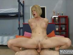 Busty blonde tranny delia de lions gets her anal screwed