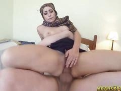 Arab woman with hijab sucks and fucks a monster cock
