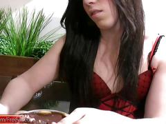 Chubby chick with dick eats cake and jerks her tranny dick