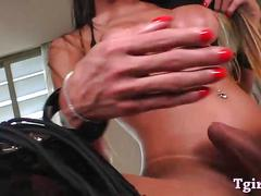 Big tits shemale sabrina camargo jerks off her big cock